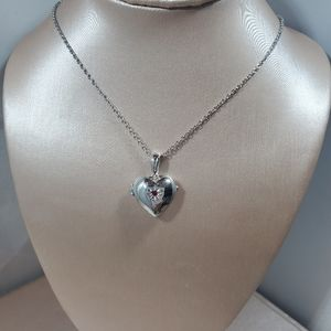 Jewelry - R for ld Childs silver Heart locket w ruby & chain